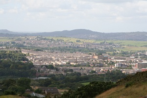 England: the first weekend and the first trip; Accrington seen from a slope of Great Hameldon