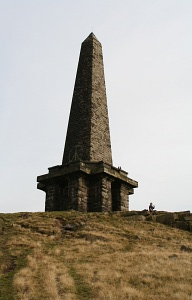 England: 36 meter high Stoodley Pike monument is a viewpoint above the Calder Valley