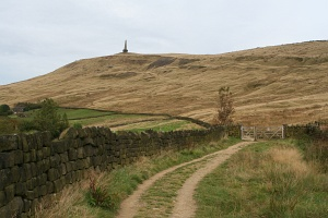 England: Stoodley Pike seen from a distance