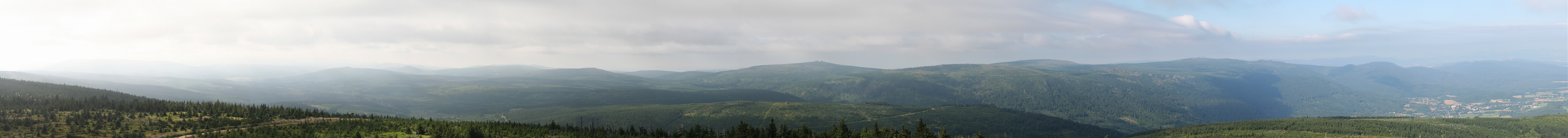 Panorama of the Czech part of the Jizera Mountains from a look-out tower on the top of Smrk