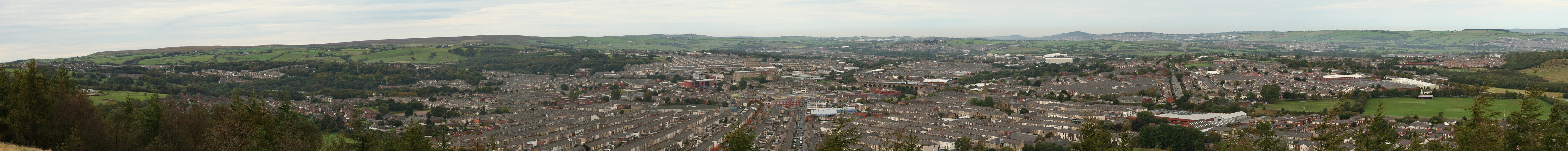 Panorama of Accrington, Lancashire from the Hillock Vale