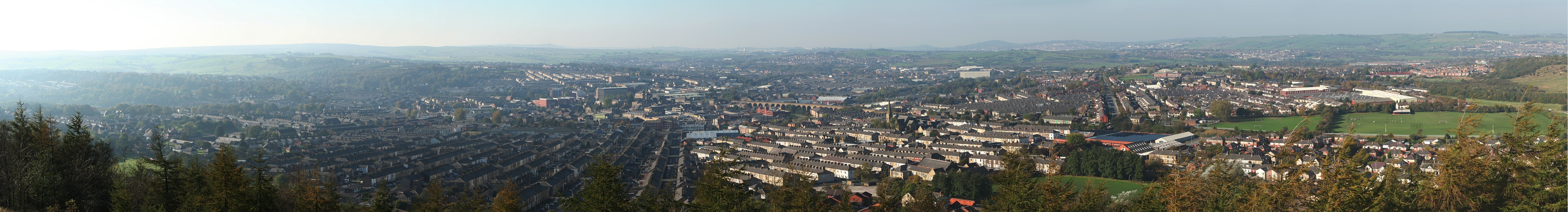 Sunny panorama of Accrington, Lancashire from the Hillock Vale