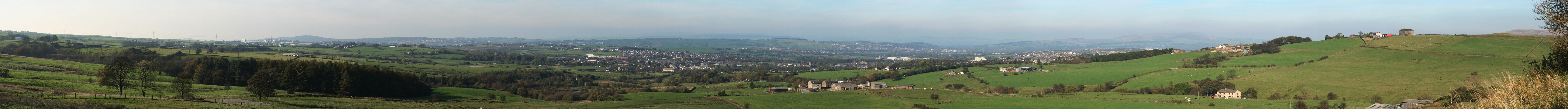 Panorama of the Borough of Hyndburn from a viewpoint on B6232 road