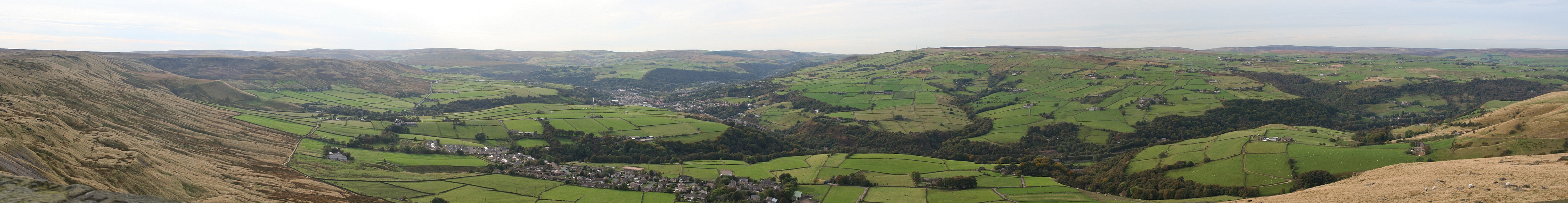 Panorama of the Calder Valley with the town of Todmorden, West Yorkshire from a balcony of Stoodley Pike