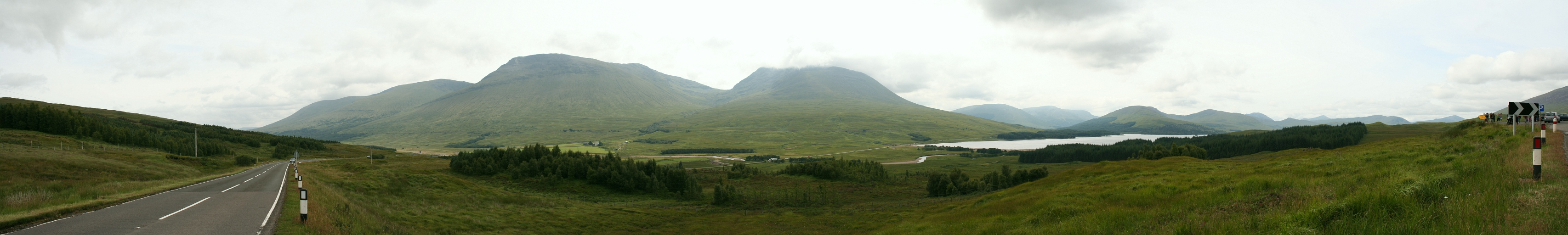 A view of Beinn Achaladair (3,406 ft), Beinn an Dothaidh (3,294 ft) and Loch Tulla from the A82 road (8.08.2010)