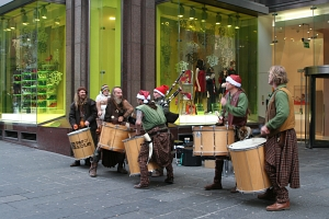 Clanadonia playing the Scottish music in Buchanan Street in Glasgow.