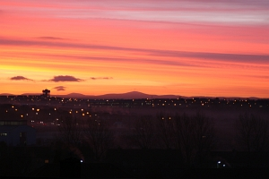 December dawn over northern Glasgow.