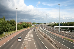 Junction of the motorways M8 and M77 in Glasgow.