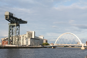 The Finnieston Crane and the Clyde Arc in Glasgow.